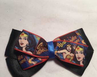 Satin Wonder woman hair bow / headband / clip