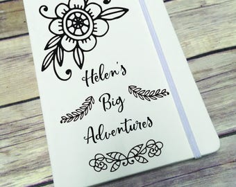 Personalised Lined Notepad- Gift - Present - Mono Floral DD281