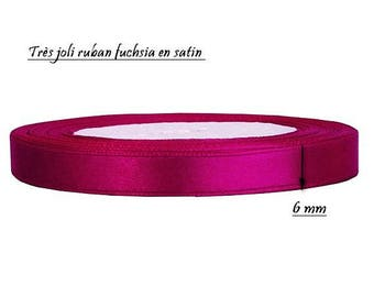 1 meter of 6 mm fuchsia satin ribbon