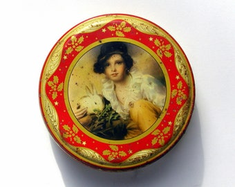 Vintage English Biscuit Tin Peek, Frean & Co. Young Girl With White Bunny Rabbit Victorian Christmas Kitchen Storage Box
