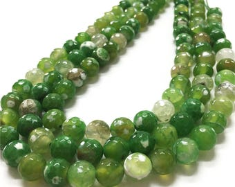 10mm Faceted Green Agate Beads, Gemstone Beads, Wholasela Beads
