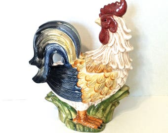 Vintage Cookie Jar Vintage Chicken Cookie Jar Colorful Vintage Rooster Cookie Jar Farmhouse Decor Cookie Storage Kitchen Storage