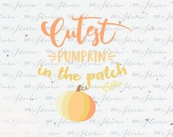 "Svg Sayings ""Cutest Pumpkin in the patch"" SVG files SVG designs silhouette cricut svg arrow svg mama svg baby svg family svg vinyl design"