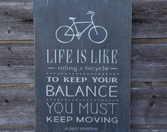 Life is like a bicycle... / Handmade Wood Wall Decor / Einstein Quote / Quote sign / Wood sign / 43cm x 30cm