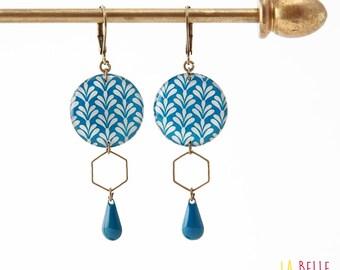 Resinees earrings round Hexagon blue art deco pattern