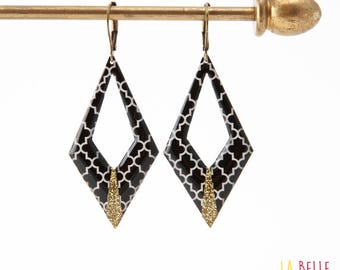 Diamond black graphic pattern and glitter resin earrings