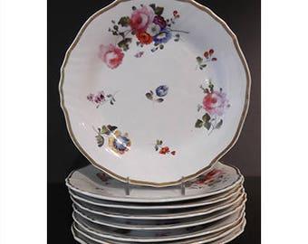 Set of 8 Antique English Floral Dessert Plates