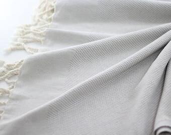 Turkish Bath Towel   Double Sided   Grey   Turkish Towel   Peshtemal Towel   Bathroom Decor   Cotton   Peshtemal   Extra Thick   Super Soft