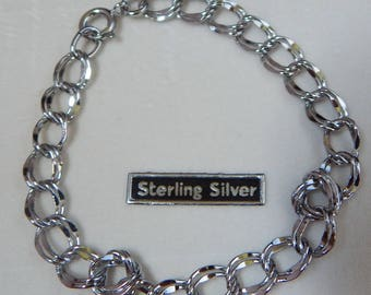 7 inch sterling silver chain link bracelet made in the 1980s