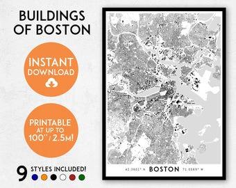Boston map print, Printable Boston map art, Boston print, Boston art, Boston poster, Boston wall art, Boston city, Massachusetts print art