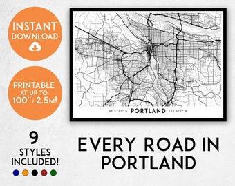 Portland map print, Printable Portland map art, Oregon map, Portland print, Portland art, Portland poster, Portland wall art, Portland gift