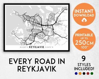 Reykjavik map print, Reykjavik print, Reykjavik city map, Iceland map, Reykjavik poster, Reykjavik wall art, Map of Reykjavik, Iceland print