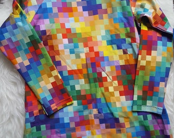 Multicoloured Pixels Long Sleeved Dress 3-4Y