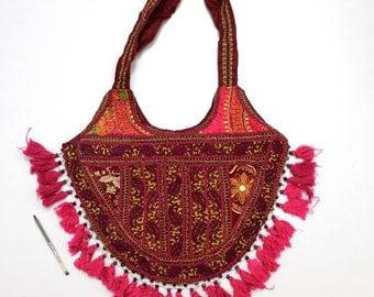 Handmade Ethnic Designer Tribal Banjara Patchwork Embroidered Hippy Fashionable Stylish Trendy Hippie Gypsy Boho Bohemian Shopper Bag F167