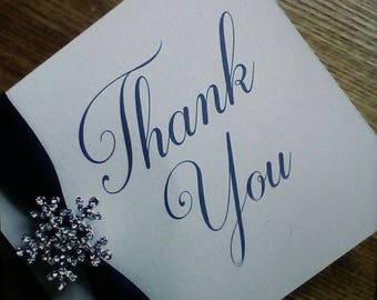 Thank you card - Winter wedding thank you card - Snowflake card
