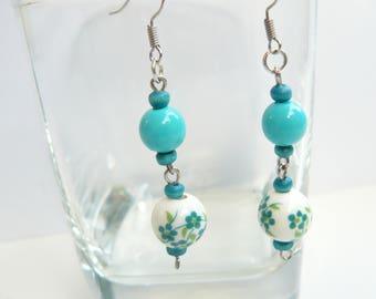 Earrings, Handmade, Porcelain beads, Wooden beads, PVC beads