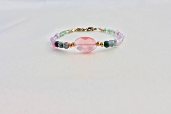 Bracelet gemstones wedding: cherry quartz, jade candy, lavender jade and aventurine