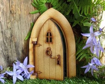 Opening Country Cottage Wooden Fairy Door Craft Kit.  3D Fully Opening Fairy Door kit for Fairy Gardens, Skirting Boards, Log Houses etc