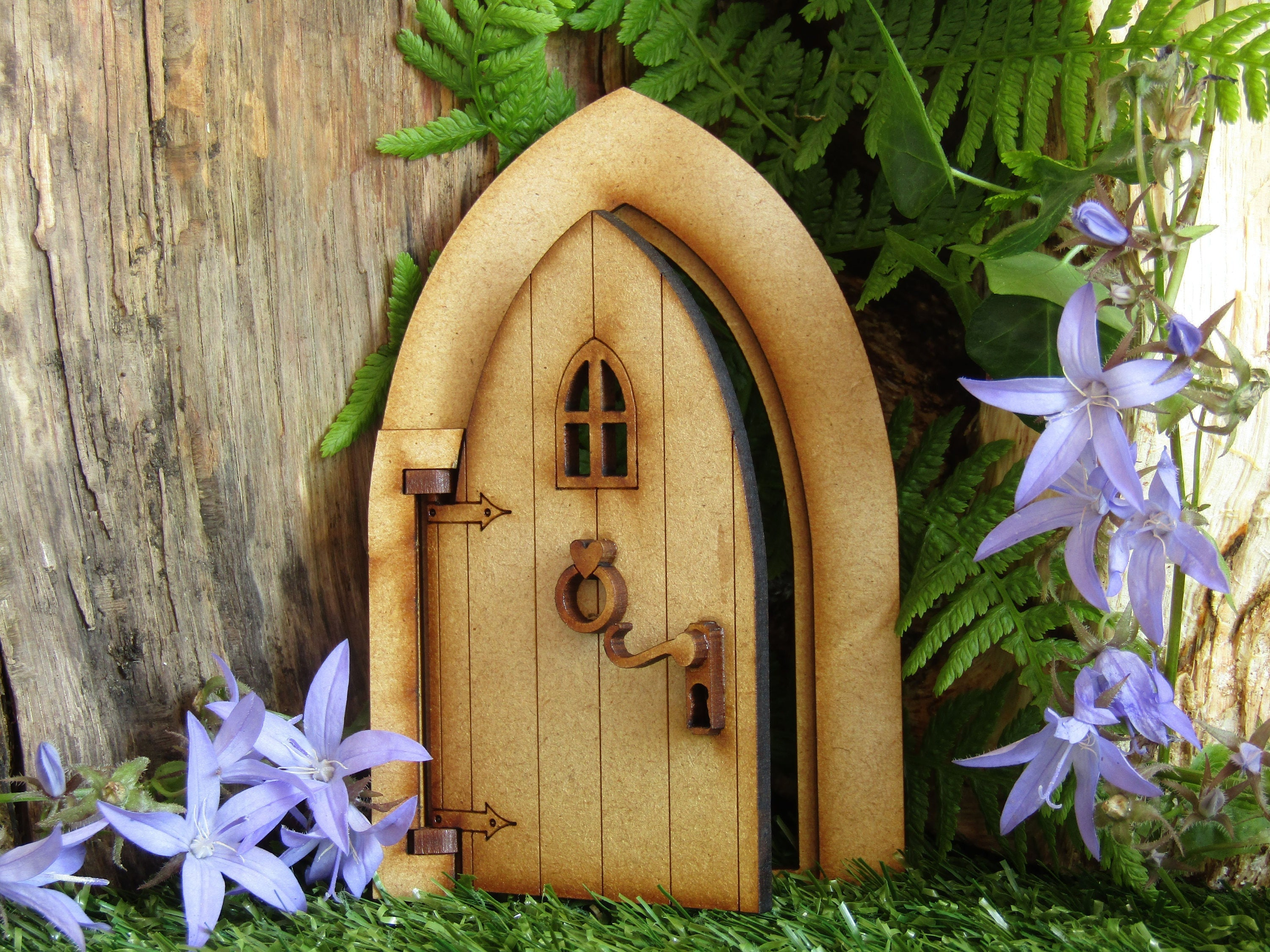 Opening country cottage wooden fairy door craft kit 3d fully for Wooden fairy doors that open