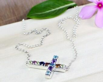 Multi Stone Pendant, Chain Necklace Pendant, Cross Sign Pendant, Blue Topaz, Citrine, Peridot, Garnet, Chakra Pendant, Chakra Jewerly