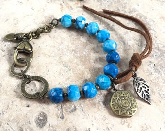 Gemstone bracelet natural leather and crazy Agate