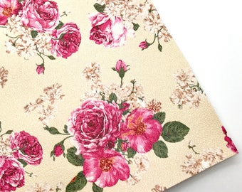 Floral Print Leather, Faux Leather Sheet, 8 x 11 leather sheet, leatherette.