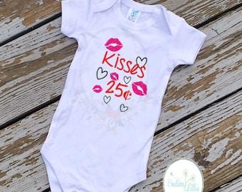 Kisses shirt, VDAY shirt, Valentine shirt, kids valentine shirt, Heart shirt, kids vday shirt, kisses 25 cents, holiday shirt, kids shirt