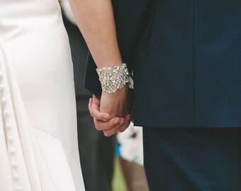 Nichola   Cuff bracelet, bridal cuff, vintage wedding bracelet, crystal bridal bracelet, pearl cuff, bracelet, pearl wedding jewellery