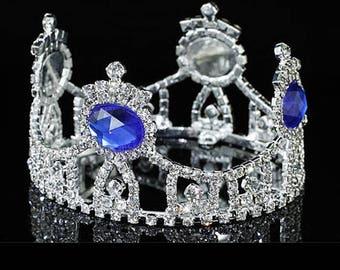Newborn Mini Crown Blue Accent/Baby Keepsake/Baby Gift/ Maternity Gift/ Tiara/ Austrian Crystal Rhinestone/Baby Shower Gifts/Baby Photo Prop