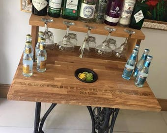 Gin Bar made from wrought iron base and laser enraved oak top and glass holder.Gin cocktail server, Lounge, dining room, hallway, home decor