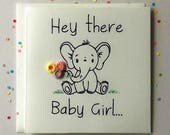 New Baby Girl Greeting Card - Baby Elephant - Welcome to the World Baby Girl - Quilled Baby Card for Girl - New Arrival - Card for Newborn