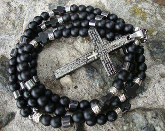 Mens rosary black onyx Catholic Rosary beads Rosary necklace men Jewelry gemstone Rosary stone Pendant cross Crucifix Free Shipping Rosaries