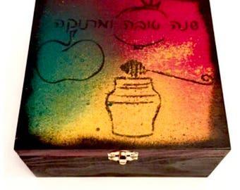 Rosh Hashana Tea box (red, green, yellow-orange) with bonus tea - a unique gift for the jewish new year