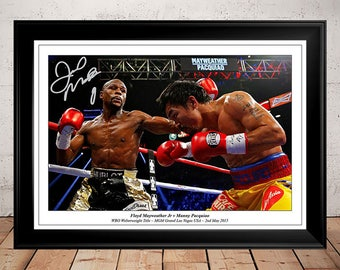 Floyd Mayweather vs Manny Pacquiao Boxing Autographed Signed Photo Print - 2