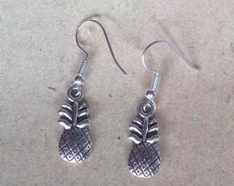 Pineapple earrings silver, fruit on the ear
