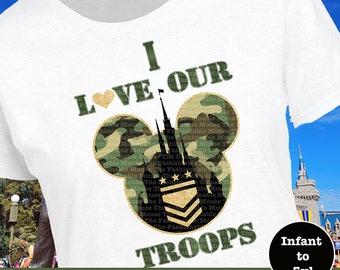 Disney Military Shirt, Disney Troops Shirt, Military Castle Shirt, Disney Army Shirt, Disney Army Tank, I Heart Our Troops Shirt
