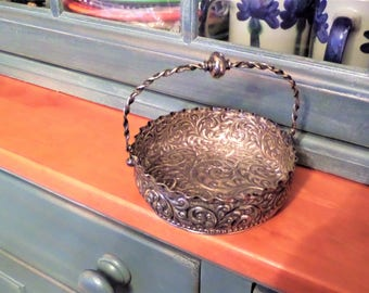 Vintage Silver Plate Basket with Hinged Handle by Derby Silver Company Repousse and Chased