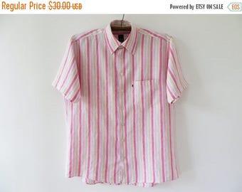 CIJ SALE Striped Linen Shirt Men Linen Shirt Button up Shirt Men Summer Shirt Pink Linen Shirt Short Sleeve Chemise Country Wedding Shirt La