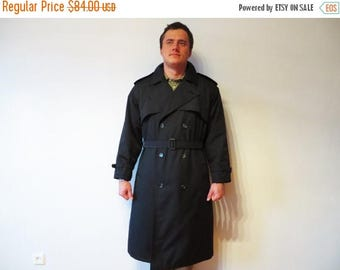 ON SALE Classic Men's Trench Navy Blue Trench Coat Double Breasted Coat Warm Trenchcoat Navy Raincoat with Belt Quilted Lining XL Large Plus