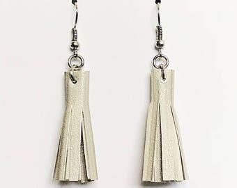 Recycled Vinyl Tassel Earrings - Light Gray