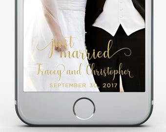 Custom Snapchat Filter, Wedding Geofilter, Wedding Snapchat Filter, Just Married Snapchat Filter, Gold Filter, Elegant Wedding Filter
