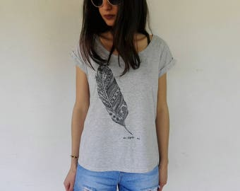 Feather t-shirt Woman ONE SIZE M
