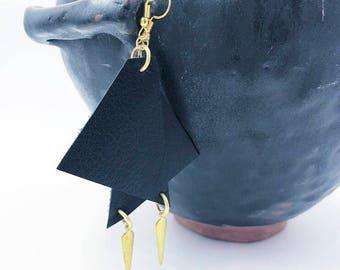 Asymmetrical Black Leather Earrings w/ Gold Charm