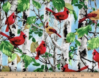 Cardinals,in the Birch trees, Timeless Treasures
