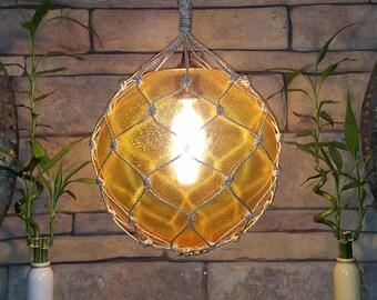 Nautical Light Pendant, Amber Pendant, Yellow, Tiki, Fishermans Float, Rope Lamp, Beach Decor, Nautical Home Decor, Fishnet, Globe, Sailing