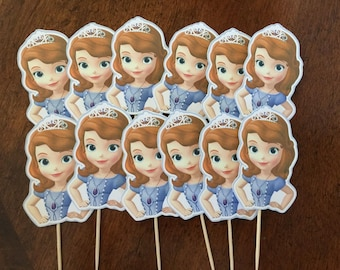 Sofia the First Cupcake Toppers, Sofia the First Cake Pop Toppers, Sofia the First Cupcake Picks, Sofia the First Cake Toppers