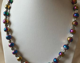 Necklace with Hematite beads 12mm and yin yang beads