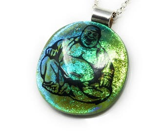 Buddha pendant handmade - kiln fired dichroic glass - fused glass - reiki - meditation  - buddhism necklace - spiritual jewellery