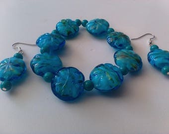Aqua bracelet and earrings set