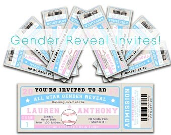 Baseball Gender Reveal Invitation, Pink and Blue Invite, Digital Invitation, Gender Reveal, Sports Baby Shower, Diaper Raffle Card, Pintable